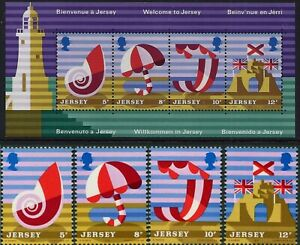 1975 Mint UK Jersey Tourism QE2 Stamps Set Lighthouse Mini-sheet + Single issues
