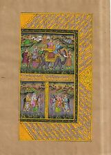 Mughal Procession Miniature Indian Moghul Ethnic Art Handmade Painting Old Paper