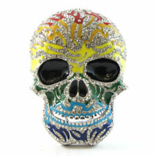 RAINBOW BLING SUGAR SKULL BELT BUCKLE DAY OF THE DEAD COCO ROCK FIT SNAP BELT