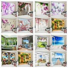 3D Trippy Curtain Flowers Wall Window Curtains Drapes for Living Room Home Decor