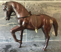 Rare Vintage Leather Wrapped Horse Figurine Statue BEAUTIFUL ~ AS IS