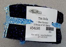 """Batik Fabric, """"Blue Horizon"""" Tiki Roll by Sew Batik 40 - 2 1/2"""" x 42"""" strips"""