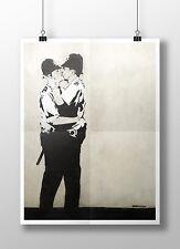 "Banksy - Kissing Cops. Archival Canvas Print 30""x20"""