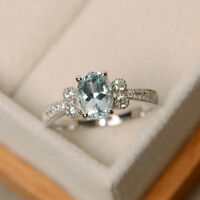 1.70 Ct Genuine Aquamarine Ring 14K White Gold Diamond Wedding Rings Size N M J