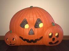 "Vintage Halloween 31"" Wide Pumpkin Trio Lighted Blow Mold Don Featherstone Decor"