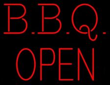 """New BBQ Open Neon Light Sign 24""""x20"""" Lamp Poster Real Glass Beer Bar"""