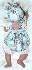 Eleanor Rose Infant Girl 6 Months Blue Floral Roses Bubble Romper + Bonnet *Euc*