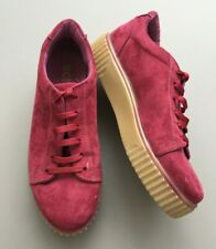 Schuh Ladies Ankle Boots 6 39 Burgundy Suede Lace Up Platform Shoes Made Italy