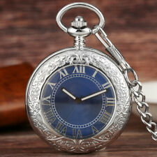 Mens Vintage Mechanical Pocket Watch Blue Dial Pocket Watch Glass Case Fob Chain