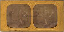 Scène de genre Enfants Stéréo Diorama Tissue Vintage Albumine
