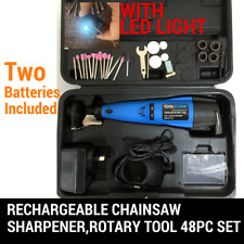 WITH 2 BATTERY, CORDLESS CHAINSAW CHAIN GRINDER SHARPENER ROTARY TOOL 48PC SET