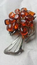 Bouquet brooch of Amber flowers set in 925 silver vintage 1950's-60's