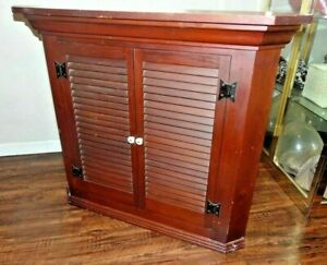 Vintage MCM Country Corner Wall Pine Solid Wood Cabinet