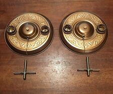 Antique Flush Mount Fixtures Wired Pair Porcelain Sockets Three way Pull chains