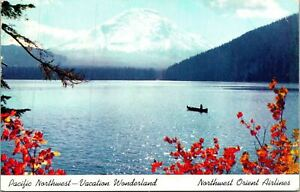 Pacific Northwest Mountains Lake Boat Orient Airlines Postcard Used (33049)