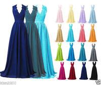 Plus Size 2-26W Cap Sleeve Long V-Neck Bridesmaid Evening Prom Chiffon Dress New