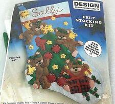 "Design Works Crafts Felt Stocking Kit Angel Bears 5011 Christmas 16"" New"