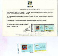 2006 varietà rarissima euro 0,60 40*anniversario usfi nuovo** certificato ferrar