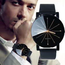 Classic Black Men's Leather Band Steel Business Watches Analog Quartz Wristwatch