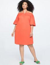 993b4998c6a Eloquii Dress Sz 18 Orange Halter Neck off The Shoulder Puffy Bishop Sleeves