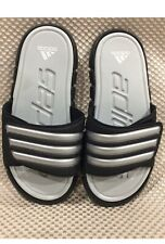 New Adidas Black/Gray Slip-on Sandals, Pull Tab, SuperCloud Insole, Size 2
