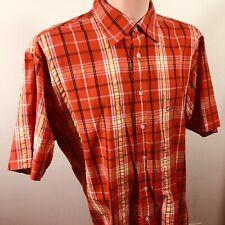 Kani Gold Button Down Plaid Short Sleeve Shirt XL Bright Orange and Yellow