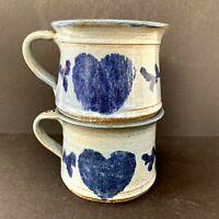 Pair of Handmade Studio Art Pottery Soup Mugs by Brian Marx Blue Glaze Hearts