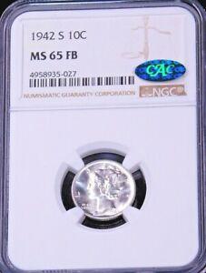 1942-S Mercury Dime NGC MS65FB CAC Blast White Full Bands Super Luster PQ #GC226