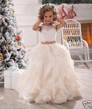 White/Ivory Ruffles Wedding Prom Kids Pageant Baby Princess Flower Girl Dress