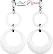 Boucles d'oreilles acier inoxydable doubles anneaux céramique blanche neuf STK
