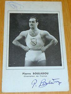 ancienne carte pierre bouladou champion DE FRANCE POIDS HALTERES dedicace
