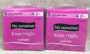 No Nonsense Nylon Nude Knee Highs 2 Package Lot 4 Pairs Sheer Toe One Size New