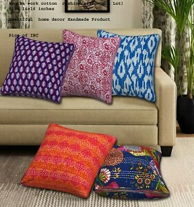 Set of 10 Pc Pillow Cover, Vintage Kantha Cushion cover, Indien Bohemian 16X16