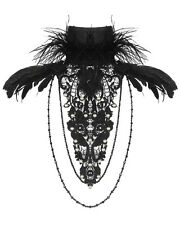 RQBL Black Echo Gothic Lace Collar Necklace Feather VTG Steampunk Feathers