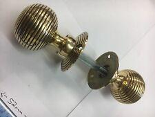1 Pair Solid Brass Beehive Door handles Antique reeded Vintage Brass Door Knob