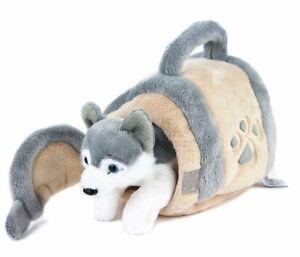 Kuscheltier Husky in Hundehütte 15 cm grau/beige/weiß Plüschhund Plüschtier