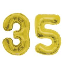 """Number 35 Gold 34"""" Balloon Birthday Party Decorations 35th Birthday"""