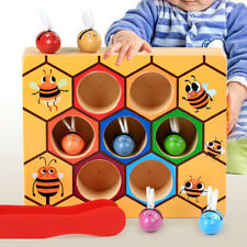 Children Preschool Wooden Bee Clip Out Montessori Kids Educational Toy XMAS Gift