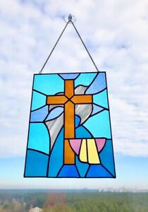 Stained glass suncatcher panel with holy cross home decor window hanging