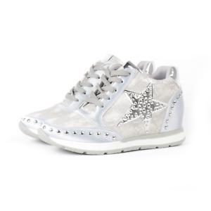 DameRose Scarpe sneakers donna con zeppa interna e borchie Argento