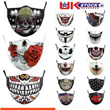 New Mouth Face Mask Anti-dust Washable Adult Reusable Joker Skull Rose Teeth UK