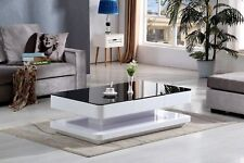 FLORENCE High Gloss Coffee Table Glass Living Room Furniture Black and White