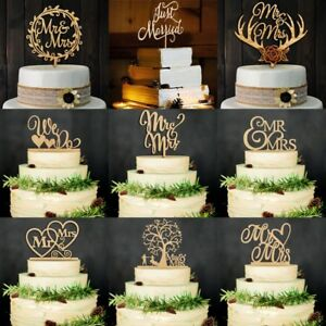 Vintage Wooden Mr & Mrs Bride and Groom Wood Cake Topper Wedding Party Favor NEW