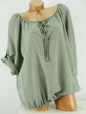 Shirt Top Bluse Tunika Karo Retro kurz Größe 40 - 44 one size Khaki grün w