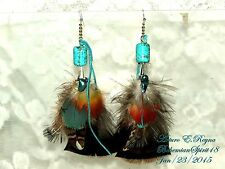 Arturo E.Reyna TRIBAL NATURAL TURQUOISE TURKEY/ PHEASANT FEATHERS LONG EARRINGS
