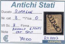ANTICHI STATI - ROMAGNE - RO0007 - NR. 3 USATO - CATALOGO 500€ - 6 PUNTI