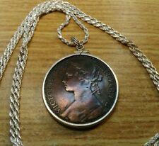 """1875 Queen Victoria Penny .925 Silver Pendant 28"""" .925 Italian Silver Rope Chain"""