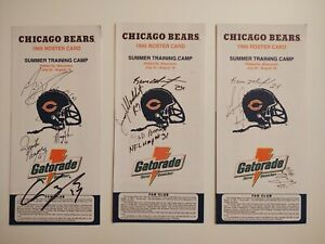 1995 Chicago Bears Training Camp Roster Cards Multiple AUTOGRAPHS NFL Schedule