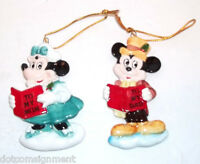 Vintage Porcelain Mickey & Minnie Mouse Christmas Caroler Ornaments made Japan
