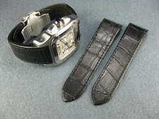 NEW 24.5mm Leather Strap Chronograph Watch Band Santos 100 XL Black REG